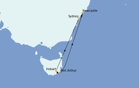 Itinerario del crucero Australia 2022 7 días a bordo del Radiance of the Seas