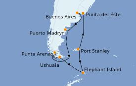 Itinerario de crucero Suramérica 15 días a bordo del Norwegian Star