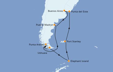 Itinerario del crucero Suramérica 14 días a bordo del Norwegian Star