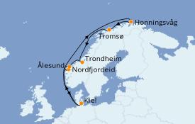 Itinerario de crucero Fiordos y Noruega 11 días a bordo del MSC Splendida