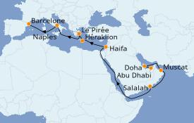 Itinerario de crucero Dubái 20 días a bordo del Costa Smeralda
