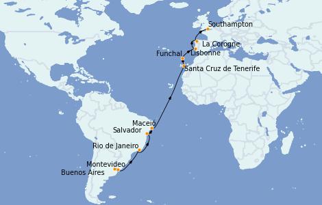 Itinerario del crucero Trasatlántico y Grande Viaje 2022 21 días a bordo del MSC Orchestra