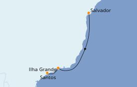 Itinerario de crucero Suramérica 4 días a bordo del Costa Fascinosa
