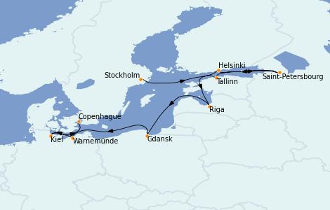 Itinerario del crucero Mar Báltico 9 días a bordo del Norwegian Dawn