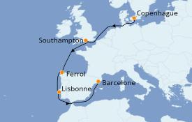 Itinerario de crucero Mediterráneo 9 días a bordo del MSC Virtuosa