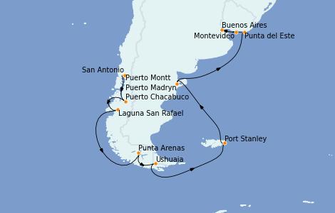 Itinerario del crucero Norteamérica 20 días a bordo del Marina