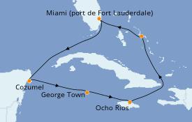 Itinerario de crucero Caribe del Oeste 8 días a bordo del ms Zuiderdam