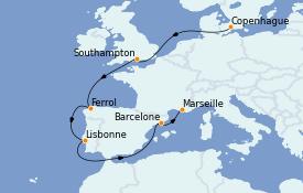 Itinerario de crucero Mediterráneo 10 días a bordo del MSC Seaview