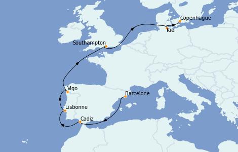 Itinerario del crucero Mediterráneo 10 días a bordo del MSC Grandiosa