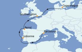 Itinerario de crucero Mediterráneo 9 días a bordo del MSC Seaview