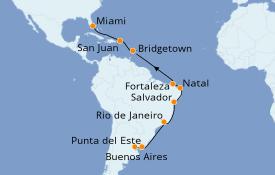 Itinerario de crucero Suramérica 23 días a bordo del Azamara Quest