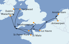 Itinerario de crucero Islas Británicas 11 días a bordo del Seven Seas Voyager