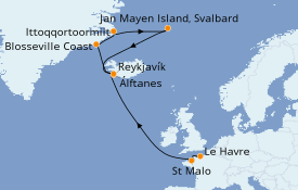 Itinerario de crucero Exploración polar 15 días a bordo del Le Commandant Charcot