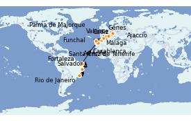 Itinerario de crucero Mediterráneo 20 días a bordo del MSC Splendida