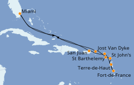 Itinerario de crucero Caribe del Este 13 días a bordo del Seabourn Sojourn