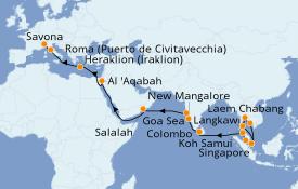 Itinerario de crucero Asia 31 días a bordo del Costa Fortuna