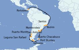 Itinerario de crucero Suramérica 30 días a bordo del MS Marina