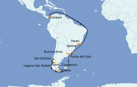 Itinerario del crucero Suramérica 29 días a bordo del Marina