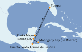 Itinerario de crucero Caribe del Oeste 8 días a bordo del ms Veendam