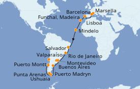 Itinerario de crucero Vuelta al mundo 2020 36 días a bordo del MSC Magnifica