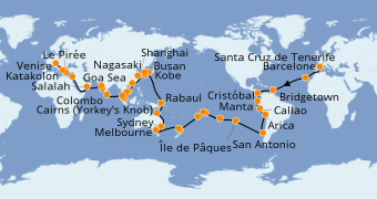 Itinerario de crucero Vuelta al mundo 2020 107 días a bordo del Costa Deliziosa