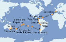 Itinerario de crucero Vuelta al mundo 2020 55 días a bordo del Costa Deliziosa