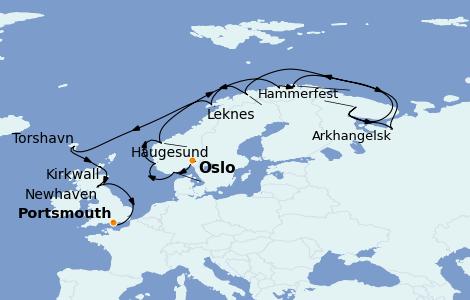 Itinerario del crucero Fiordos y Noruega 18 días a bordo del Riviera