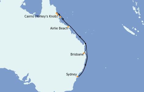 Itinerario del crucero Australia 2022 10 días a bordo del Royal Princess