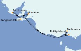 Itinerario de crucero Australia 2022 8 días a bordo del Grand Princess