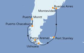 Itinerario de crucero Suramérica 20 días a bordo del Seven Seas Voyager