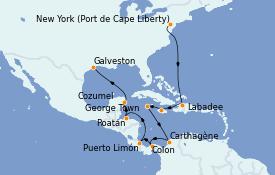 Itinerario de crucero Trasatlántico y Grande Viaje 2022 15 días a bordo del Adventure of the Seas