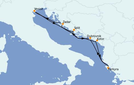 Itinerario del crucero Grecia y Adriático 7 días a bordo del Silver Dawn