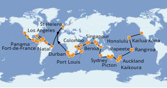 Itinerario de crucero Vuelta al mundo 2020 112 días a bordo del Pacific Princess