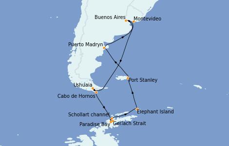Itinerario del crucero Exploración polar 14 días a bordo del Celebrity Infinity