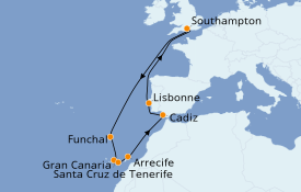 Itinerario de crucero Islas Canarias 15 días a bordo del Queen Victoria