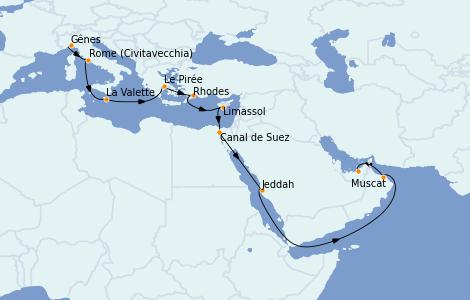 Itinerario del crucero Trasatlántico y Grande Viaje 2021 18 días a bordo del MSC Virtuosa