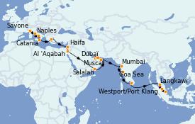 Itinerario de crucero Trasatlántico y Grande Viaje 2021 35 días a bordo del Costa Firenze