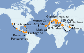 Itinerario de crucero Mediterráneo 56 días a bordo del Island Princess