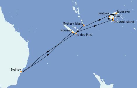 Itinerario del crucero Australia 2023 14 días a bordo del Royal Princess