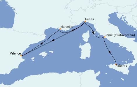 Itinerario del crucero Mediterráneo 6 días a bordo del MSC Seaside