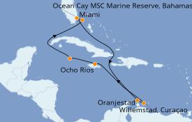 Itinerario de crucero Caribe del Este 12 días a bordo del MSC Divina