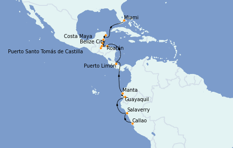 Itinerario del crucero Caribe del Oeste 18 días a bordo del Marina