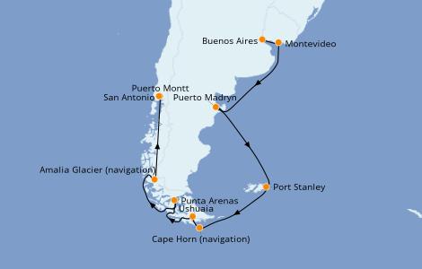 Itinerario del crucero Suramérica 14 días a bordo del Sapphire Princess