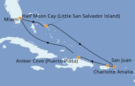 Itinerario de crucero Caribe del Este 8 días a bordo del Carnival Sunrise