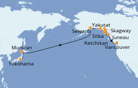 Itinerario de crucero Alaska 18 días a bordo del Sun Princess