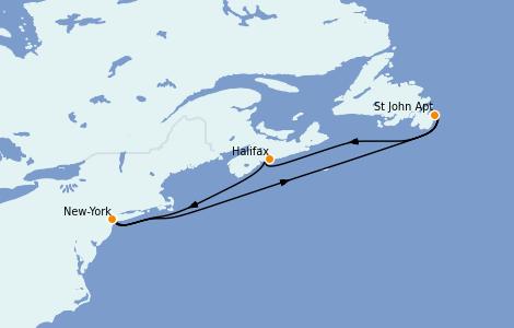 Itinerario del crucero Canadá 5 días a bordo del Carnival Magic