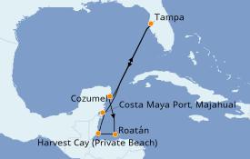 Itinerario de crucero Caribe del Oeste 8 días a bordo del Norwegian Jade