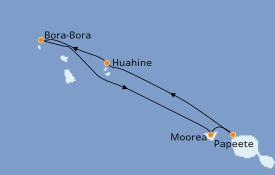 Itinerario de crucero Polinesia 8 días a bordo del Paul Gauguin