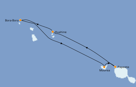 Itinerario del crucero Polinesia 7 días a bordo del Paul Gauguin