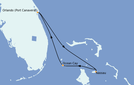 Itinerario del crucero Bahamas 7 días a bordo del MSC Divina